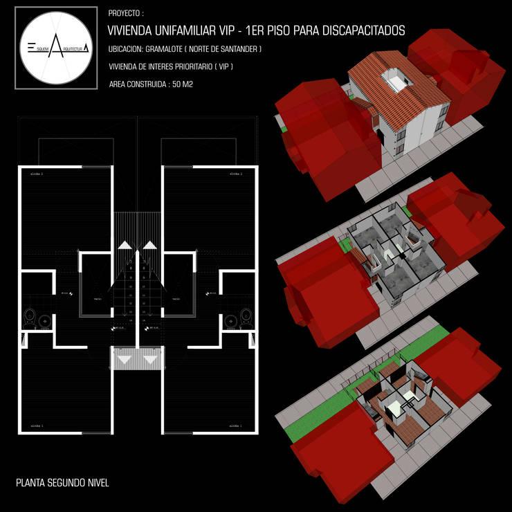 VIVIENDA DE INTERÉS PRIORITARIO: Casas unifamiliares de estilo  por ESQUEMA ARQUITECTURA