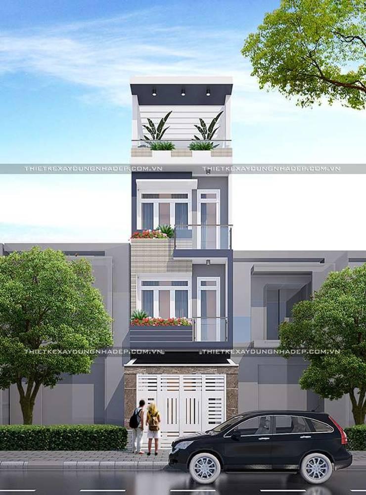Mặt tiền nhà ống 4 tầng đẹp:   by Công ty cổ phần tư vấn kiến trúc xây dựng Nam Long