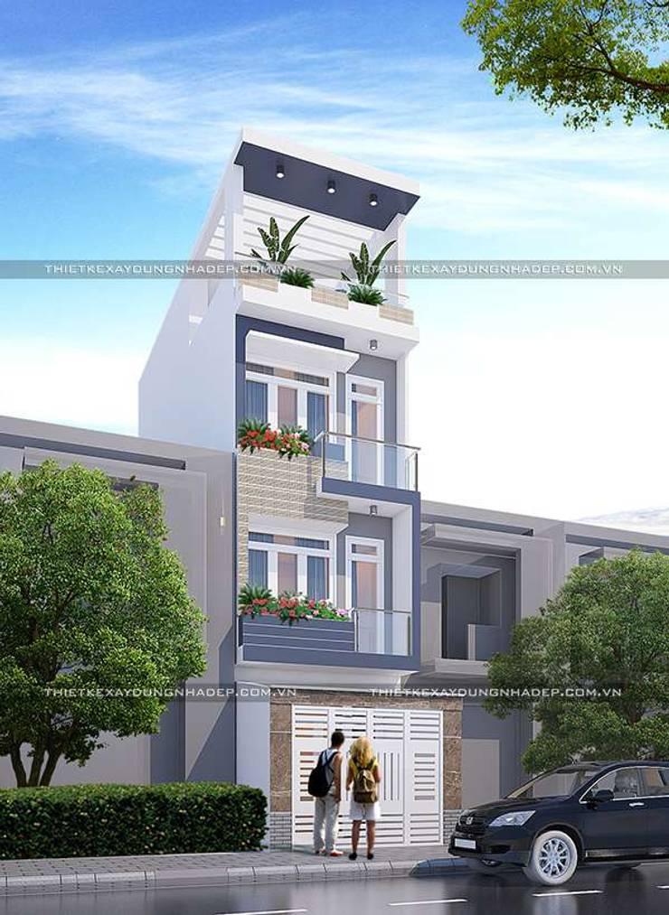 Mẫu nhà ống đẹp 4 tầng hiện đại ở quận 12:   by Công ty cổ phần tư vấn kiến trúc xây dựng Nam Long