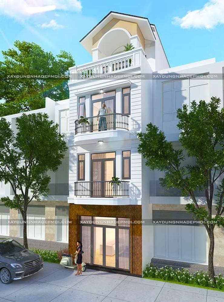 Thiết kế nhà ống 4 tầng 50m2 mái thái đẹp:   by Công ty xây dựng nhà đẹp mới