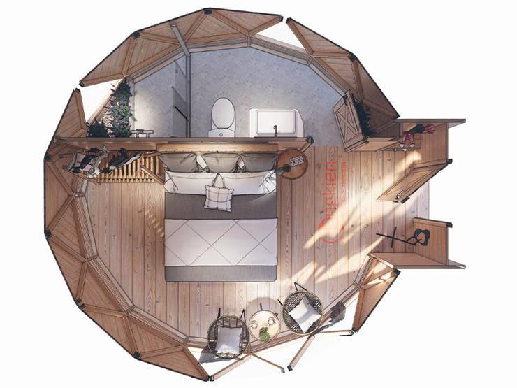 Mẫu thiết kế bungalow đơn 1 giường ngủ:   by Công ty TNHH Ông Kien
