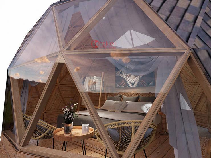 Phối cảnh nội thất bungalow dome nhìn từ bên ngoài:   by Công ty TNHH Ông Kien