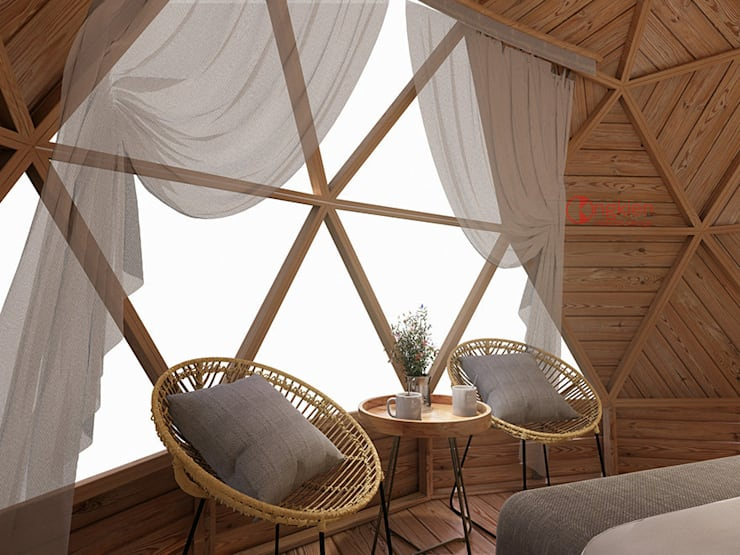 Phối cảnh nội thất bungalow dome 1 giường ngủ:   by Công ty TNHH Ông Kien