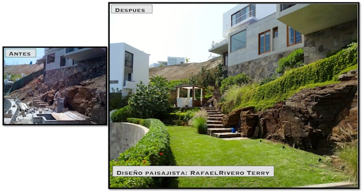 "Proyecto paisajista ""Casa jardín"". Club náutico Poseidon, Pucusana Lima Perú.:  de estilo  por Rafael Rivero Terry arquitecto paisajista"