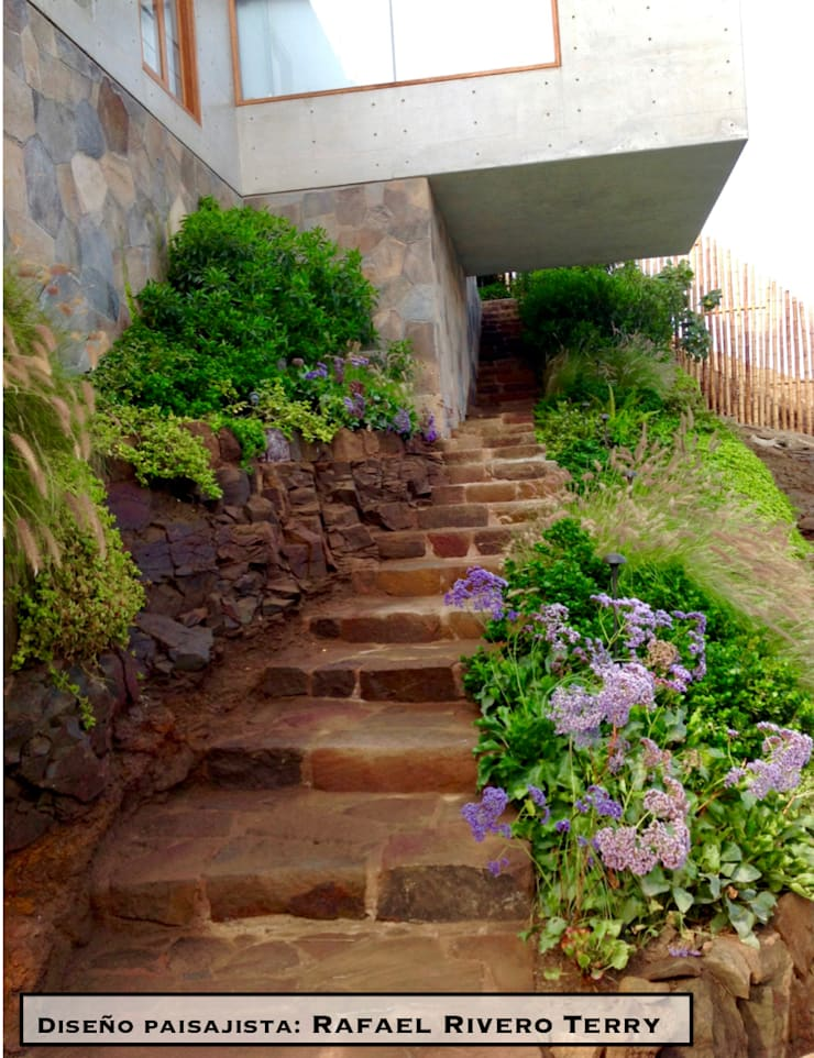 "Proyecto paisajista ""Casa jardín"". Club náutico Poseidon, Pucusana Lima Perú.: Jardines de estilo  por Rafael Rivero Terry arquitecto paisajista"