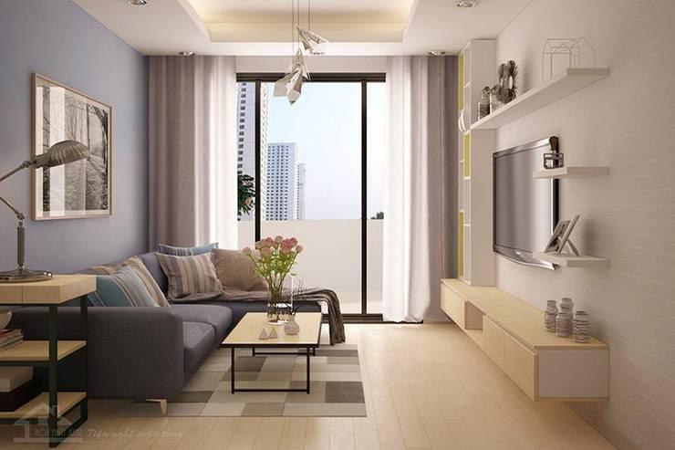 Thiết kế phòng khách hiện đại:   by NỘI THẤT XINH