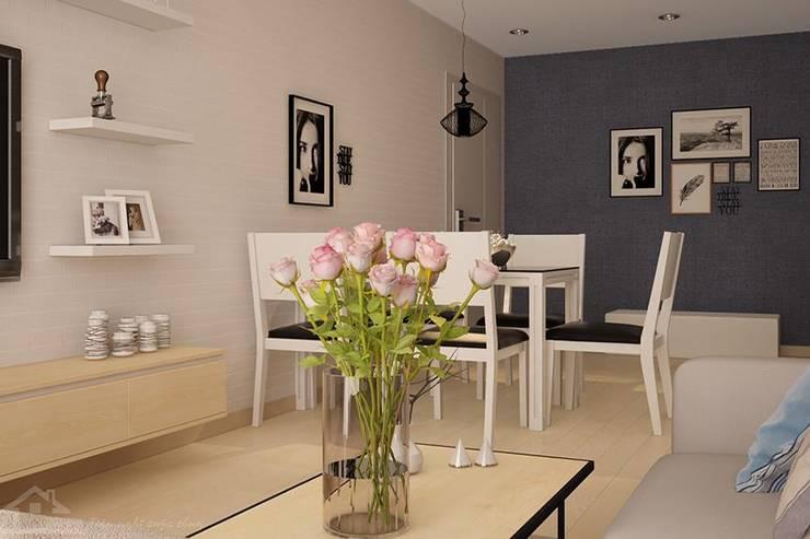 Bộ bàn ăn hiện đại màu trắng đen nổi bật:   by NỘI THẤT XINH