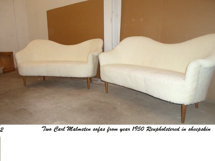 Carl Malmstens Sofas reupholstered in Sheepskin by Steffani Antiques & Design