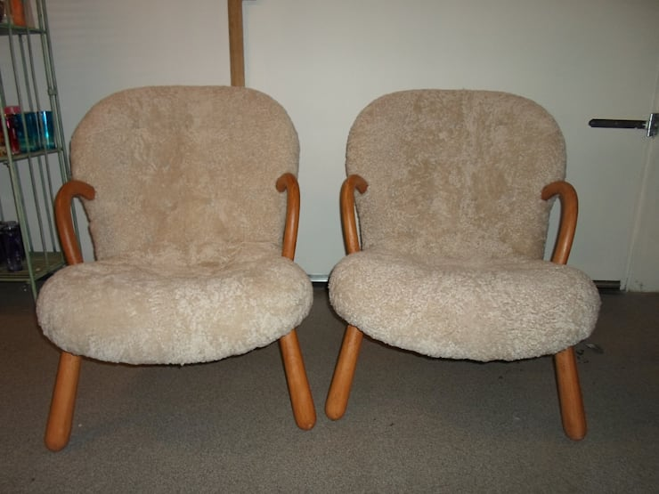 Philip Arctander Chairs Reupholstered in sheepskin:  Living room by Steffani Antiques & Design