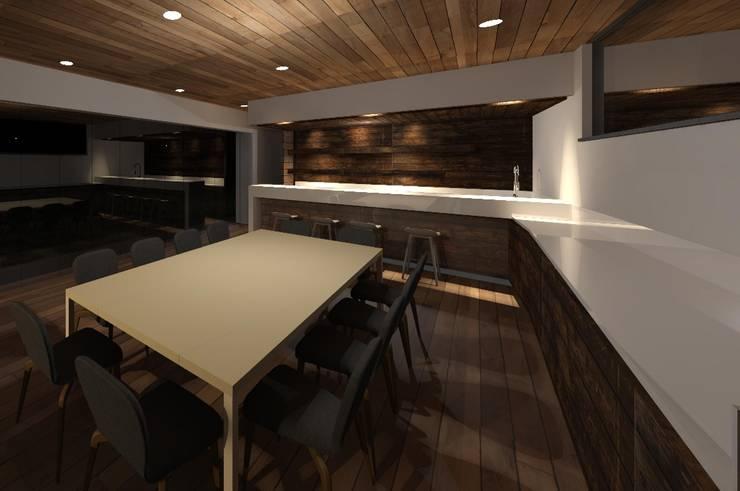 INTERIOR COMEDOR NOCHE (ILUMINACION): Electrónica de estilo  por MRH Arquitectos