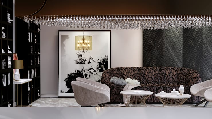Reception :  غرفة المعيشة تنفيذ Swan Studio