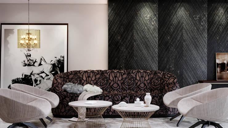 Villa-  reception-open kitchen :  غرفة المعيشة تنفيذ Swan Studio