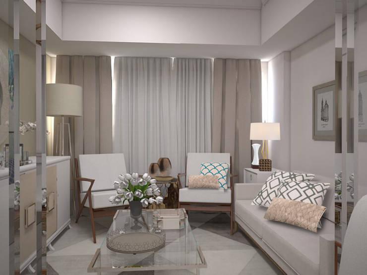 1 Bedroom Condo in Manila:  Living room by CIANO DESIGN CONCEPTS