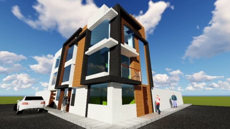 VIVIENDA MULTIFAMILIAR: Casas multifamiliares de estilo  por HyS Arquitectos,