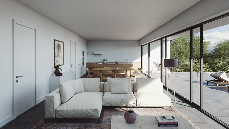 Sala de estar e de jantar: Salas de estar  por FMO ARCHITECTURE