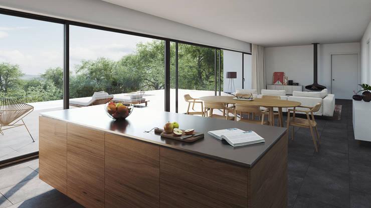 置入式廚房 by FMO ARCHITECTURE, 簡約風 複合木地板 Transparent