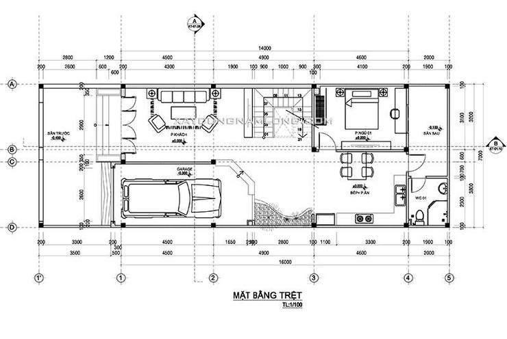 Mẫu thiết kế nhà 7x20:   by Công ty cổ phần tư vấn kiến trúc xây dựng Nam Long