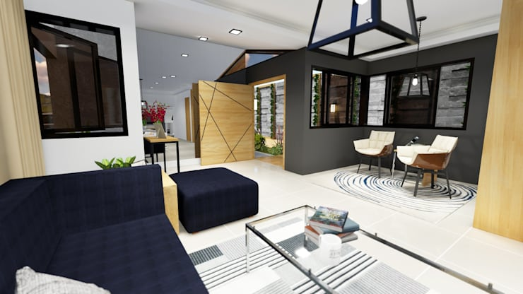 View of Main Entry Door:  Living room by Structura Architects, Modern