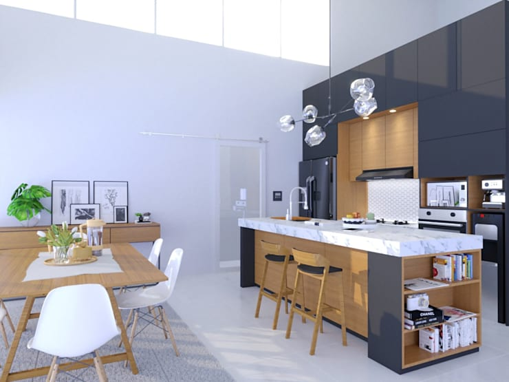 Kitchen set minimalis: Dapur oleh viku,