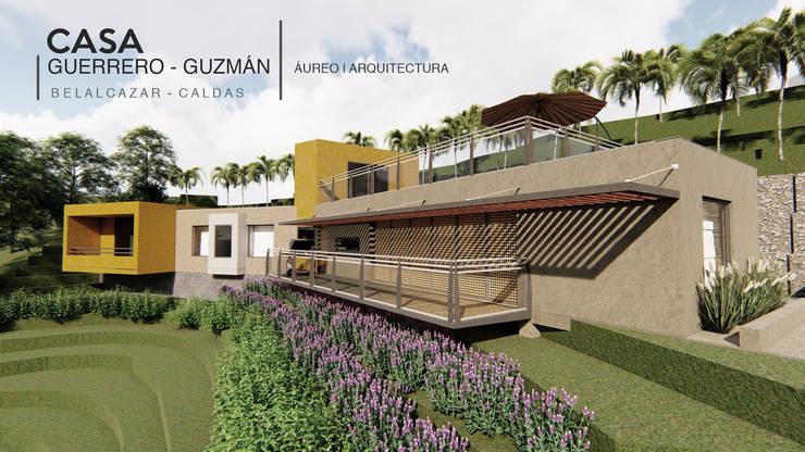 Fachada Casa Guerrero Guzmán de Áureo Arquitectura Moderno Caliza