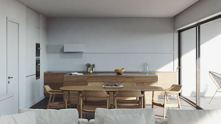 Sala de jantar e cozinha: Cozinhas embutidas  por FMO ARCHITECTURE