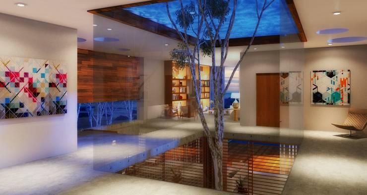 Casa da Árvore: Corredores e halls de entrada  por Viviane Cunha Arquitetura