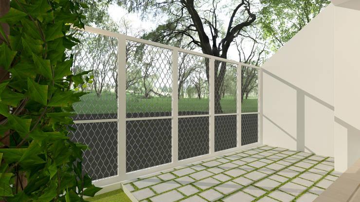 Carport: Teras oleh TIES Design & Build,