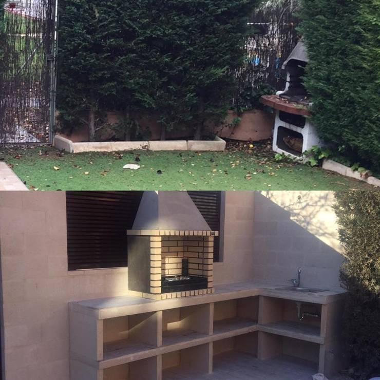 Zona de barbacoa en el jardín Jardines de estilo mediterráneo de Almudena Madrid Interiorismo, diseño y decoración de interiores Mediterráneo