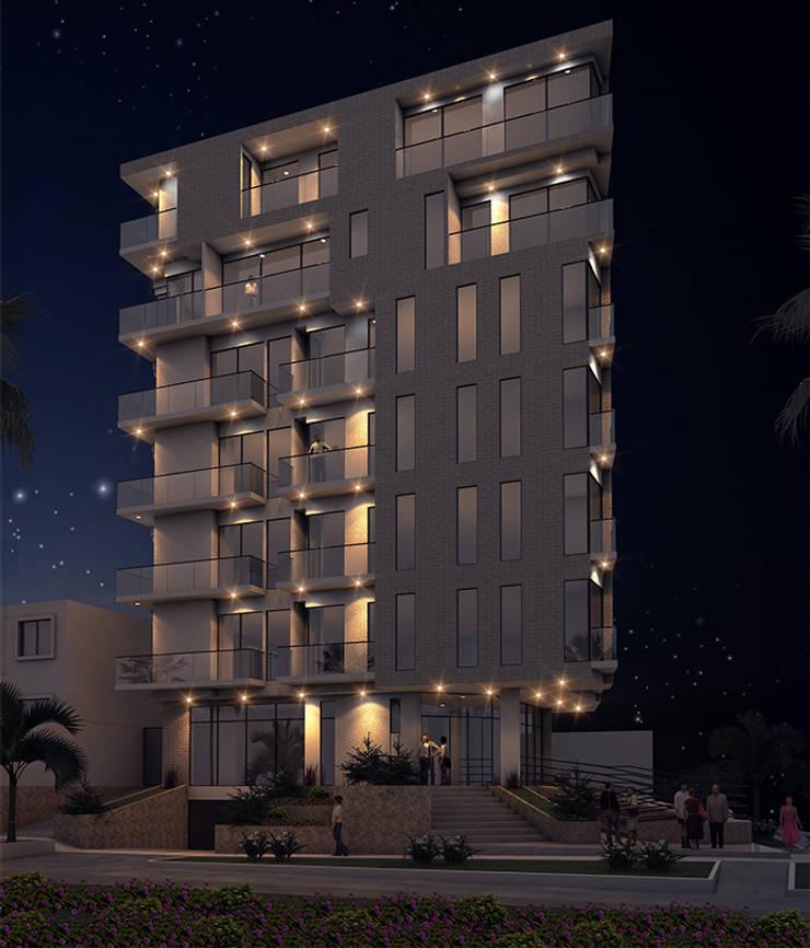 Fachada edificio - NOCHE:  de estilo  por Studio 1:1 Arquitectura , Moderno