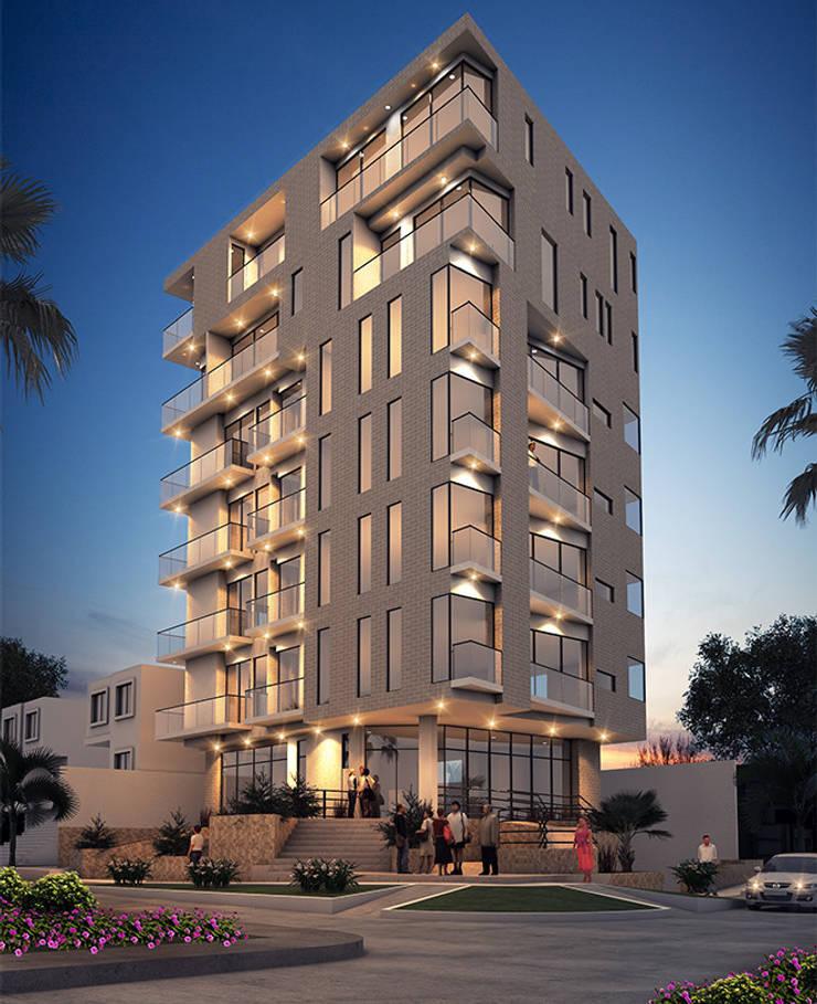 Fachada edificio - Tarde:  de estilo  por Studio 1:1 Arquitectura , Moderno