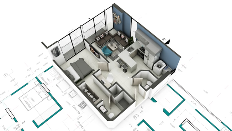 Propuesta Apto 1:  de estilo  por Studio 1:1 Arquitectura , Moderno