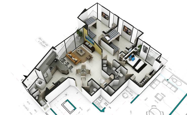 Propuesta Apto 2:  de estilo  por Studio 1:1 Arquitectura , Moderno
