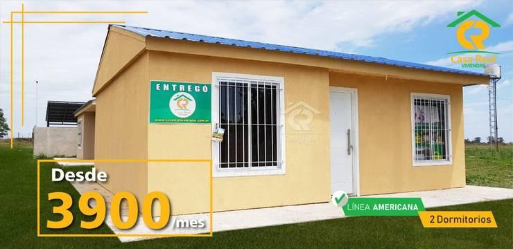 CASAS PREFABRICADAS LINEA AMERICANA: Casas prefabricadas de estilo  por Casa Real Viviendas,