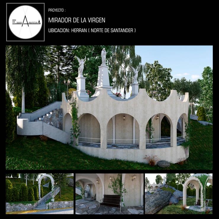 MIRADOR DE LA VIRGEN: Balcón de estilo  por ESQUEMA ARQUITECTURA, Clásico Piedra