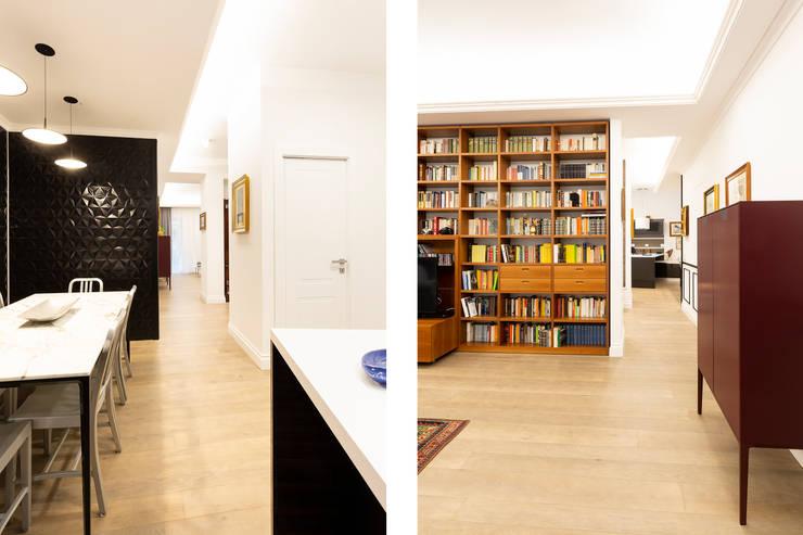 APPARTAMENTO DAVILA: Soggiorno in stile  di a2 Studio  Borgia - Romagnolo architetti, Moderno