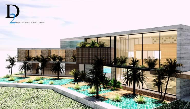CASA 01 : Casas campestres de estilo  por D2 ARQUITECTURA Y MOBILIARIO