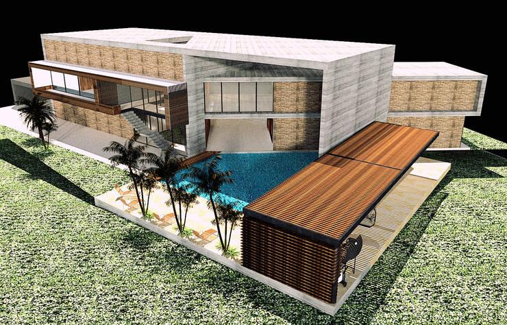 CASA 01 : Casas de estilo  por D2 ARQUITECTURA Y MOBILIARIO