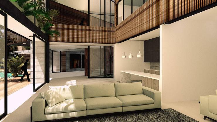 CASA 01 : Salas de estilo  por D2 ARQUITECTURA Y MOBILIARIO