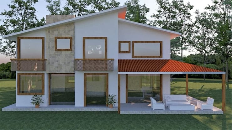 diseño en 3d de fachada:  de estilo  por Arqmania