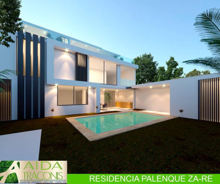 FACHADA TRASERA RESIDENCIA PALENQUE Casas modernas de AIDA TRACONIS ARQUITECTOS EN MERIDA YUCATAN MEXICO Moderno