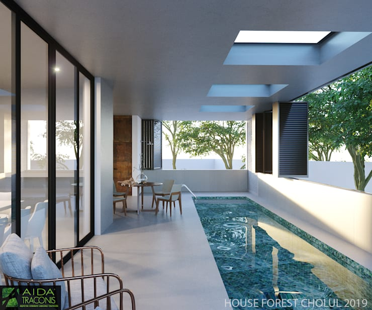 Terrace by AIDA TRACONIS ARQUITECTOS EN MERIDA YUCATAN MEXICO, Modern
