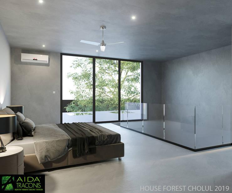 Small bedroom by AIDA TRACONIS ARQUITECTOS EN MERIDA YUCATAN MEXICO, Modern