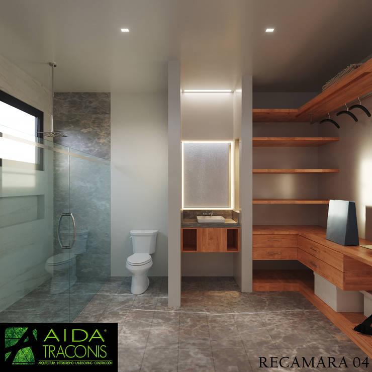 Baños de estilo  de AIDA TRACONIS ARQUITECTOS EN MERIDA YUCATAN MEXICO, Moderno