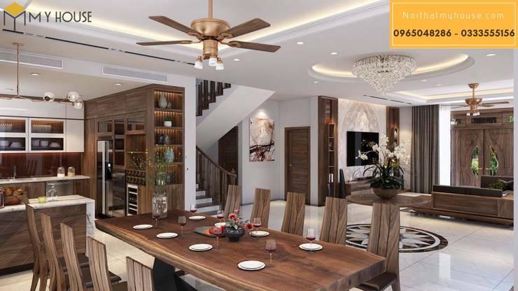 Mẫu thiết kế biệt thự gỗ óc chó:  Phòng ăn by Nội Thất My House