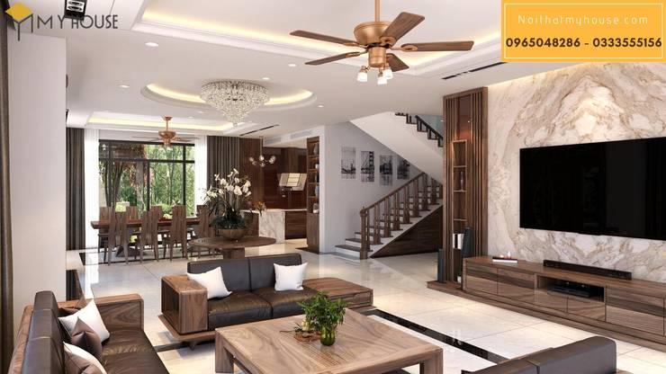 Mẫu thiết kế biệt thự gỗ óc chó:  Phòng khách by Nội Thất My House