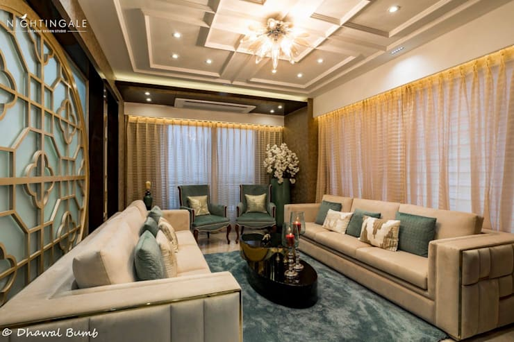 Formal sit out done in fresh color pallette.:  Living room by Nightingale Creative Design Studio, Modern Ceramic