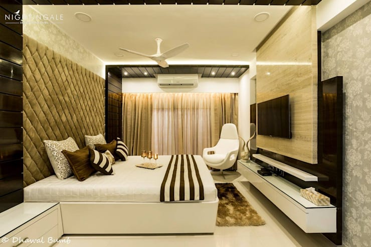 Bedroom tastefully done in browns & whites :  Small bedroom by Nightingale Creative Design Studio, Modern Ceramic