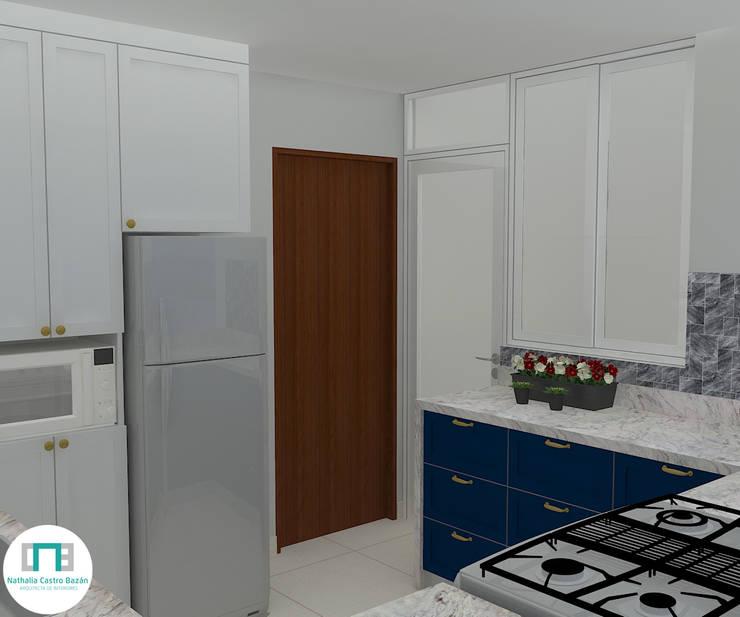 Diseño de Cocina – Espacios pequeños: Cocinas pequeñas de estilo  por Nathalia Castro Bazan - Arquitecta de interiores,