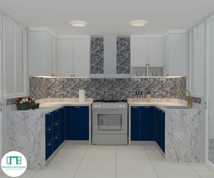 Diseño de Cocina - Espacios pequeños: Cocinas pequeñas de estilo  por Nathalia Castro Bazan - Arquitecta de interiores,