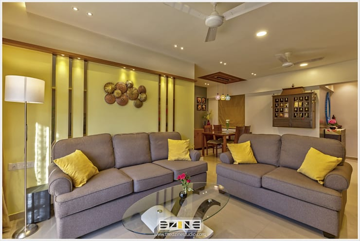 2BHK apartment in Pune :  Living room by The D'zine Studio
